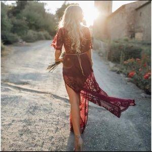 Dresses - Stunning Red Deep V Neckline Lace Dress